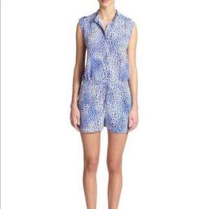 Rebeca Taylor Leopard Print Silk Romper Shorts